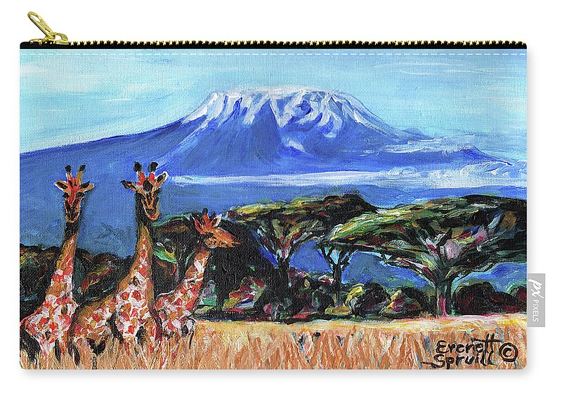 Everett Spruill Carry-all Pouch featuring the painting Three Giraffes by Everett Spruill
