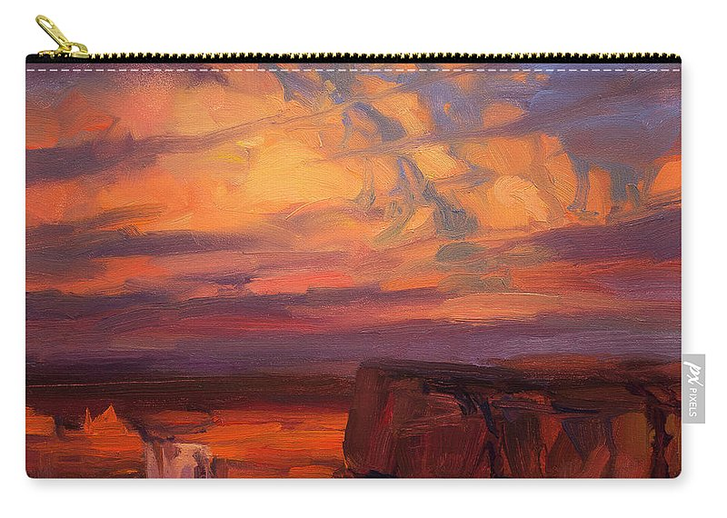 Waterfall Carry-all Pouch featuring the painting Thundercloud Over The Palouse by Steve Henderson