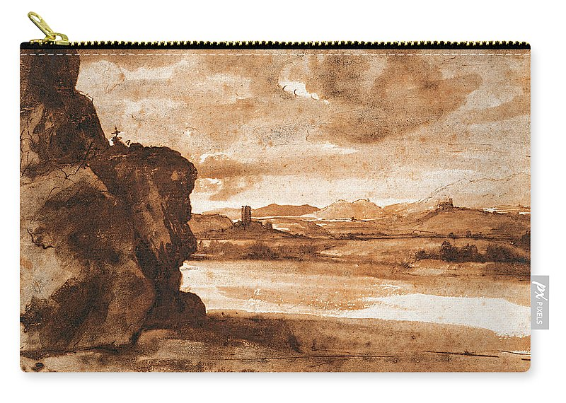 Claude Lorrain (1604-1605–1682 Carry-all Pouch featuring the painting Tiber Landscape North Of Rome Wi by Claude Lorrain