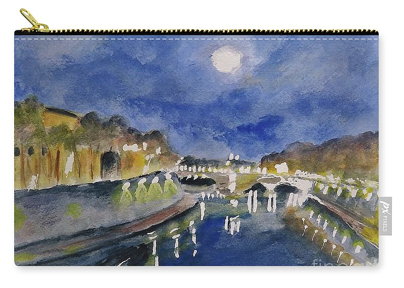 Tiber Carry-all Pouch featuring the painting Tiber River At Night by Laurie Morgan