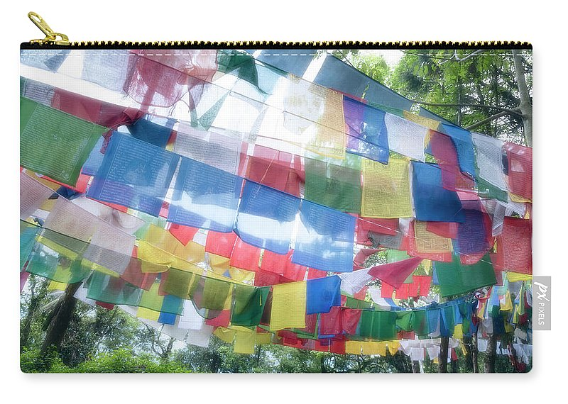 Hanging Carry-all Pouch featuring the photograph Tibetan Buddhist Prayer Flags by Glen Allison