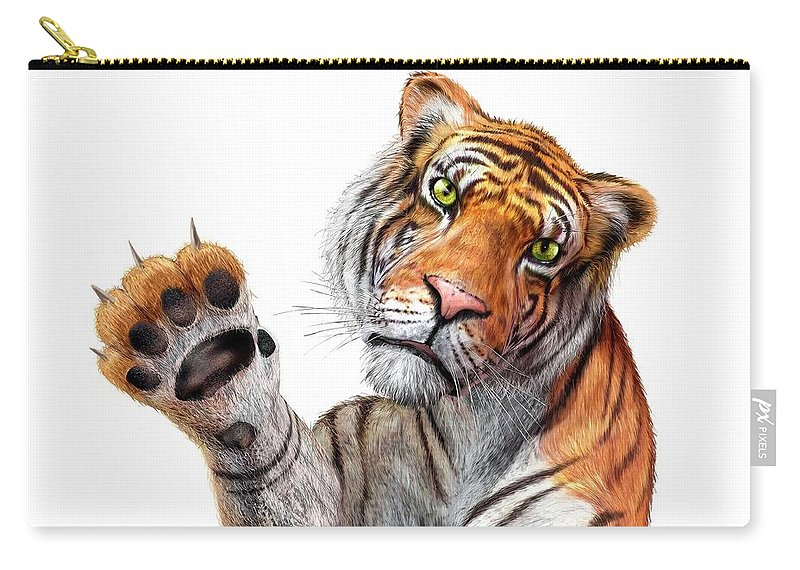 White Background Carry-all Pouch featuring the digital art Tiger, Artwork by Leonello Calvetti