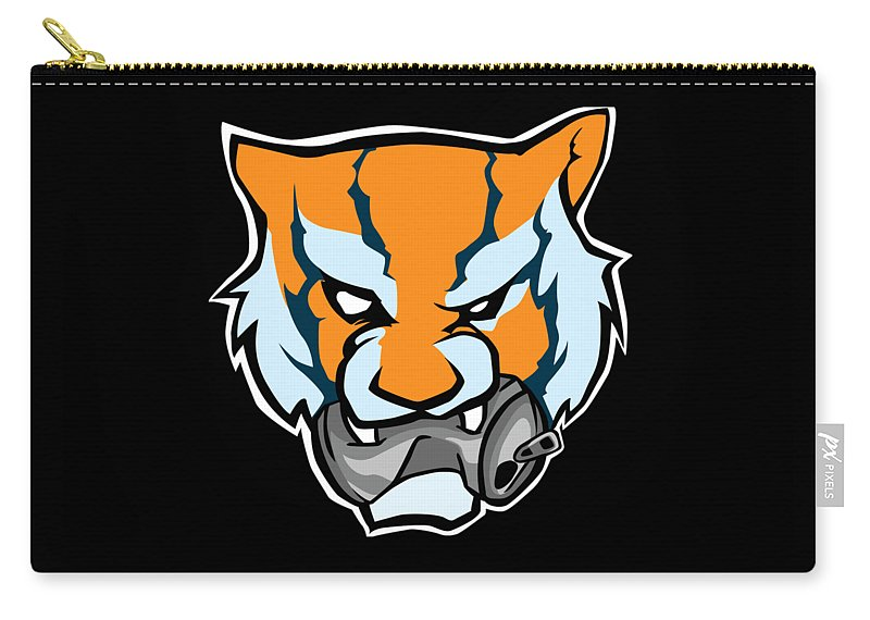 Tiger Carry-all Pouch featuring the digital art Tiger Head Bitting Beer Can Orange by Jean-Baptiste Perie