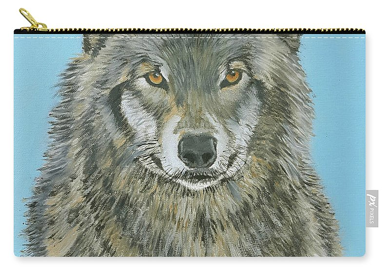 Timber Wolf Carry-all Pouch featuring the painting Timber Wolf 4 by Stan Hamilton