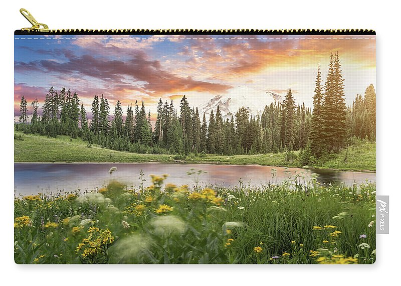 Scenics Carry-all Pouch featuring the photograph Tipsoo Lake Of Mt.rainier by Chinaface