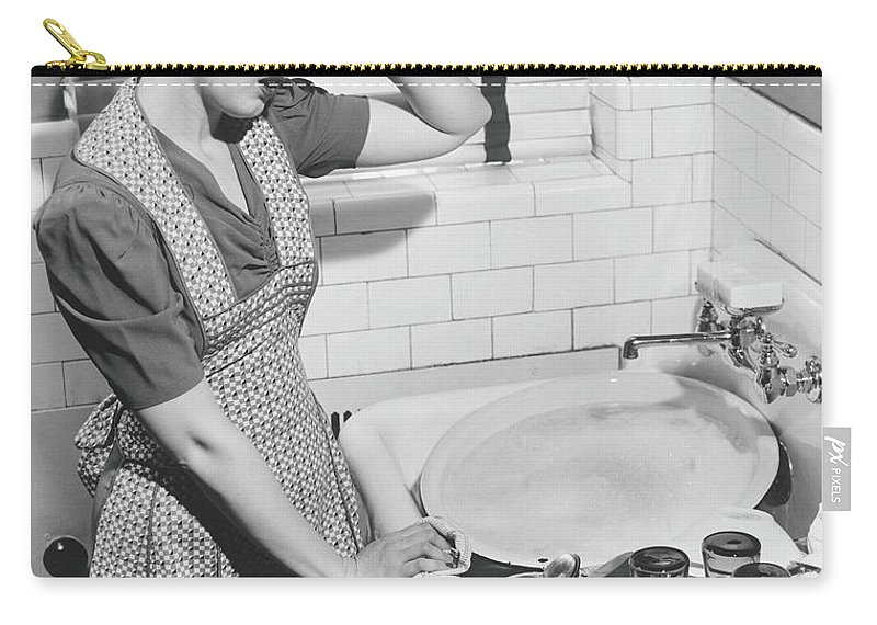 Three Quarter Length Carry-all Pouch featuring the photograph Tired Woman At Kitchen Sink, B&w by George Marks