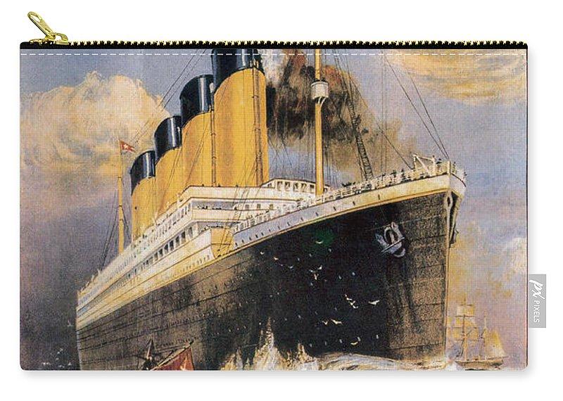 Titanic Advertising Poster Carry-all Pouch featuring the photograph Titanic Advertising Poster by Jon Neidert