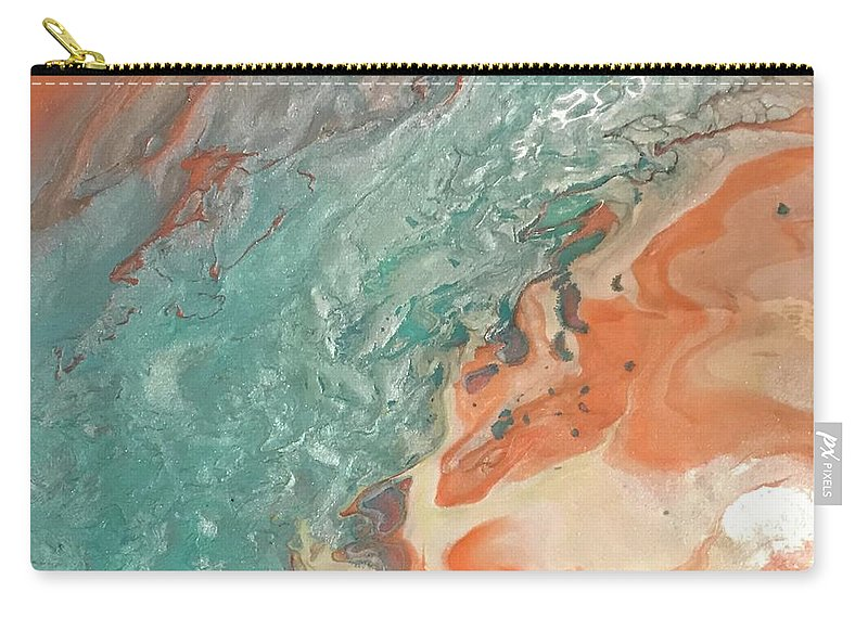 Abstract Acrylic Pour Carry-all Pouch featuring the painting Toes In The Sand by Kelly Hogue