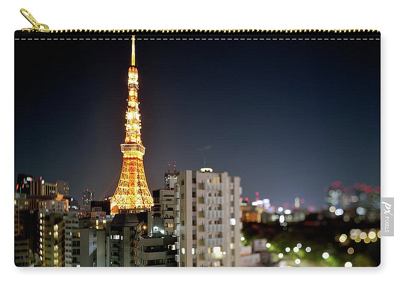 Tokyo Tower Carry-all Pouch featuring the photograph Tokyo Tower At Night by Vladimir Zakharov