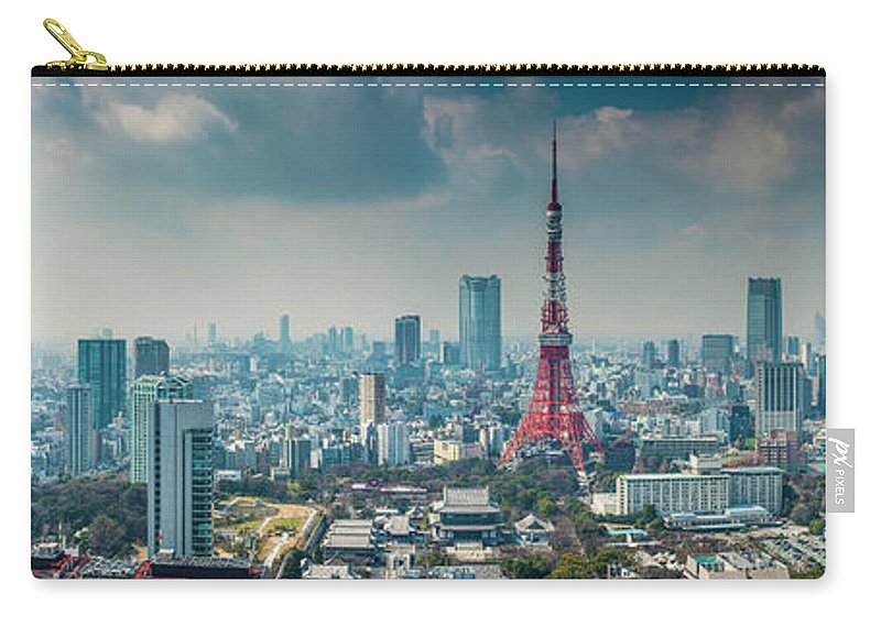 Tokyo Tower Carry-all Pouch featuring the photograph Tokyo Tower Futuristic Skyscraper by Fotovoyager