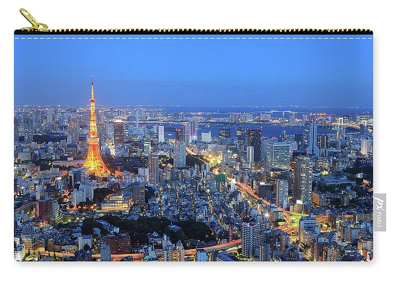 Tokyo Tower Carry-all Pouch featuring the photograph Tokyo Tower View From Mori Tower by Krzysztof Baranowski