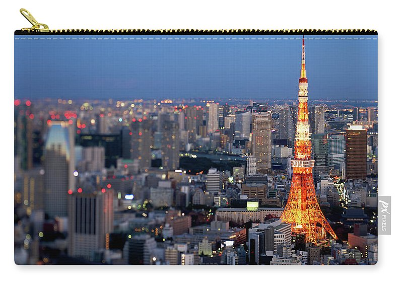Tokyo Tower Carry-all Pouch featuring the photograph Tokyo Tower by Vladimir Zakharov