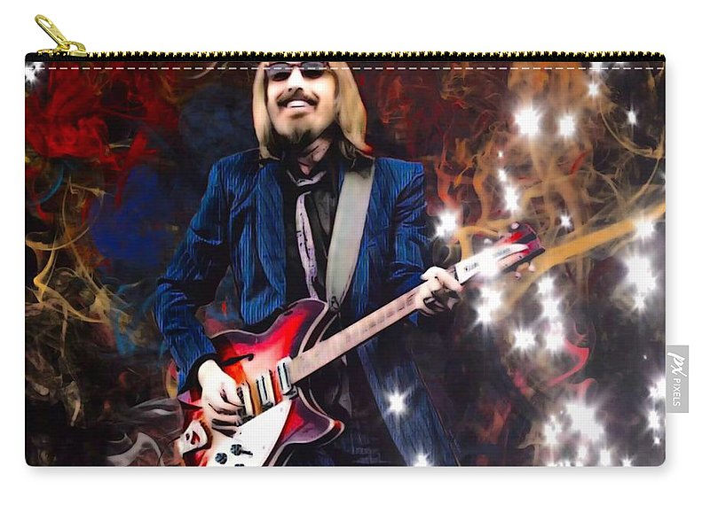 Tom Petty Carry-all Pouch featuring the digital art Tom Petty Portrait by Scott Wallace Digital Designs