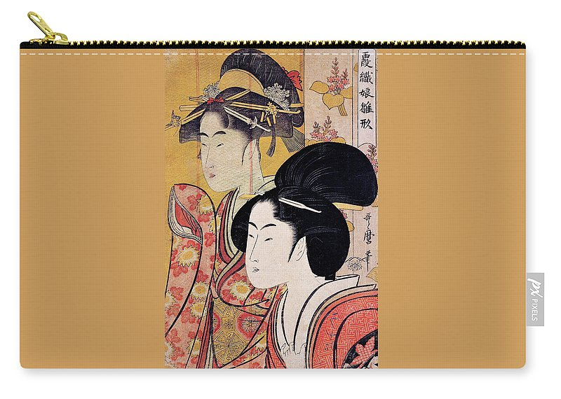 Women Carry-all Pouch featuring the painting Top Quality Art - Bamboo Blind by Kitagawa Utamaro