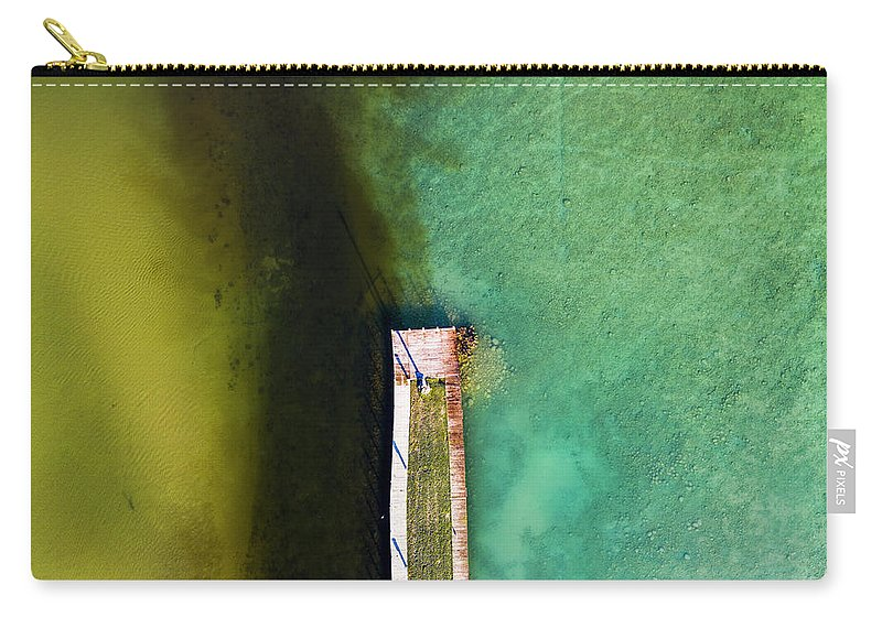 Torch Lake Carry-all Pouch featuring the photograph Torch River Outlet Aerial by Twenty Two North Photography
