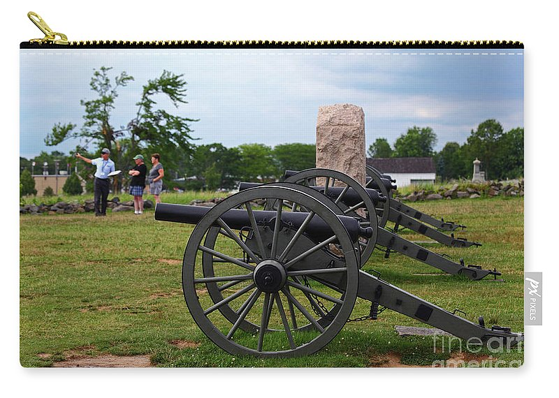 Gettysburg Battlefield Carry-all Pouch featuring the photograph Touring The Gettysburg Battlefield by James Brunker