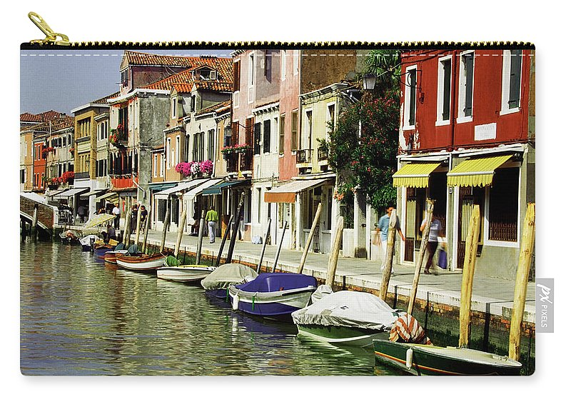 Row House Carry-all Pouch featuring the photograph Tourists Along A Canal, Murano, Venice by Medioimages/photodisc