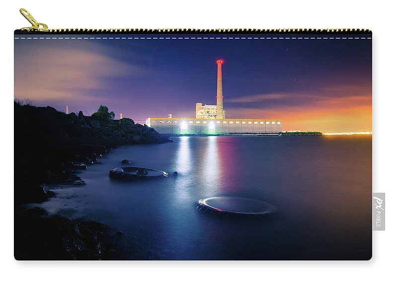 Industrial District Carry-all Pouch featuring the photograph Toxic Beach With Power Plant by Hal Bergman