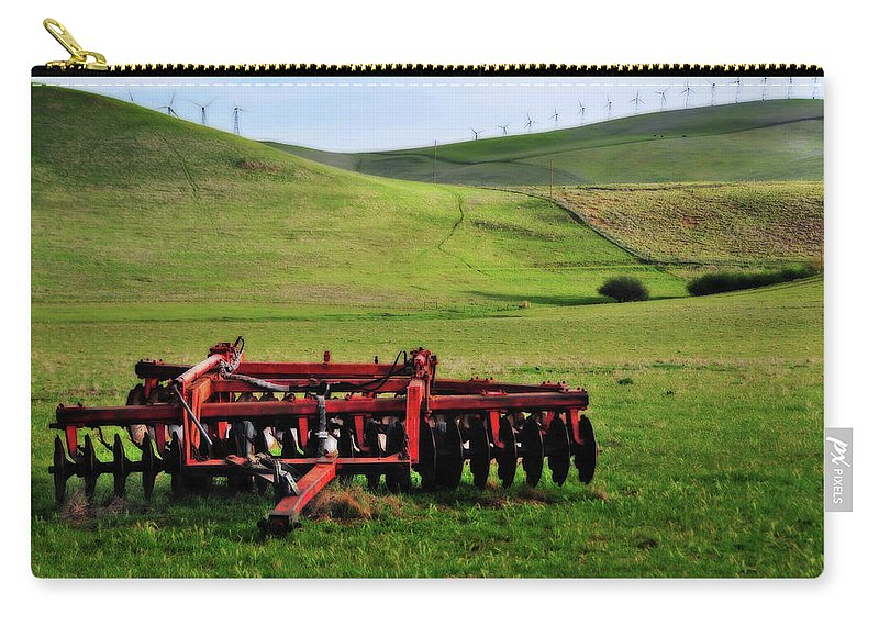 Working Carry-all Pouch featuring the photograph Tractor Blades On Green Pasture by Mitch Diamond