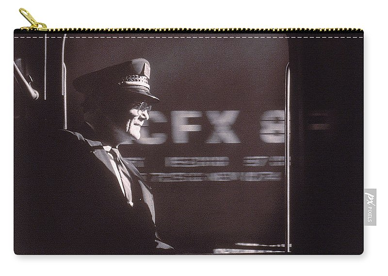Working Carry-all Pouch featuring the photograph Train Conductor Looking Out Of Window by John Coletti