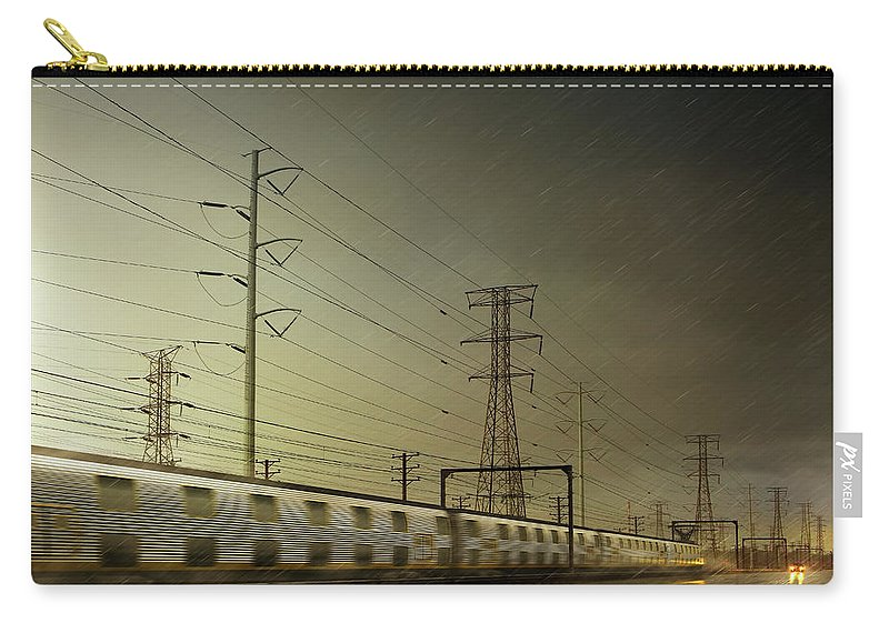 Train Carry-all Pouch featuring the digital art Train Speeding By Power Lines by Chris Clor
