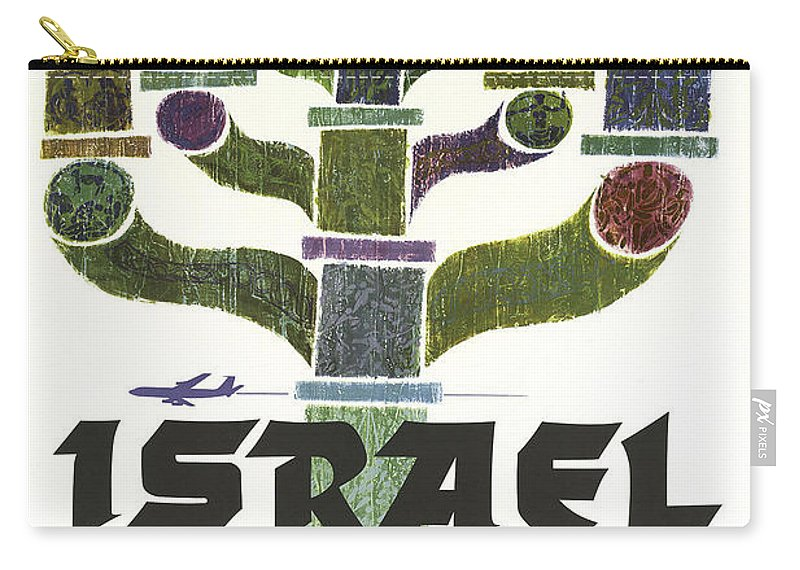 Trans World Airlines Carry-all Pouch featuring the digital art Trans World Airlines - Israel - Vintage Travel Poster by Siva Ganesh