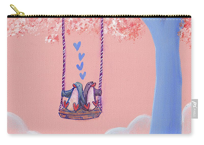 Penguin Carry-all Pouch featuring the painting Tree Swing 3 by MaryAnn Loo