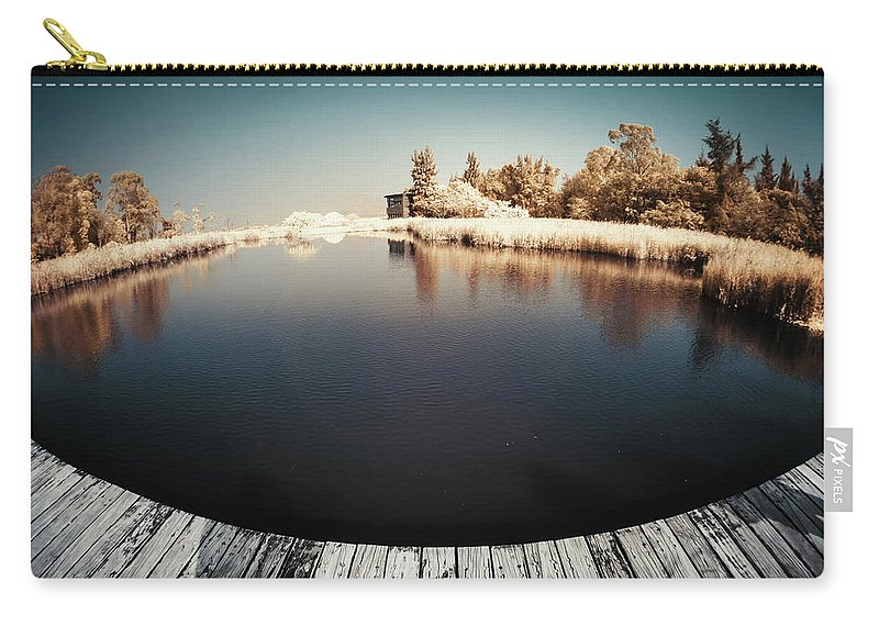 Tranquility Carry-all Pouch featuring the photograph Trees And Plants In A Pond by D3sign
