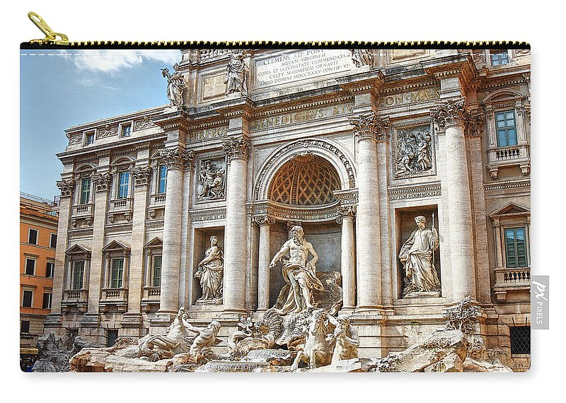 Arch Carry-all Pouch featuring the photograph Trevi Fountain by Maria Wachala
