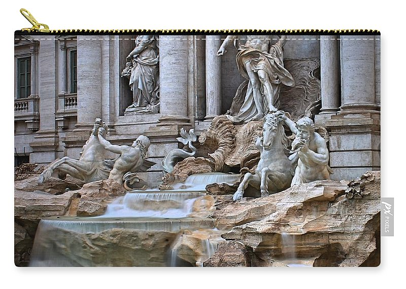 Trevi Fountain Carry-all Pouch featuring the photograph Trevi Fountain by Mary North