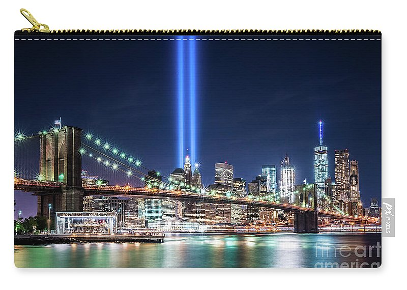9/11 Memorial Carry-all Pouch featuring the photograph Tribute In Light From Brooklyn 1 by Imma Barrera