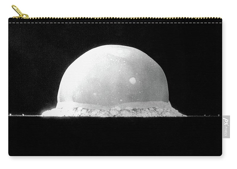 Atomic Bomb Carry-all Pouch featuring the photograph Trinity Nuclear Test Bomb Fireball - 1945 by War Is Hell Store