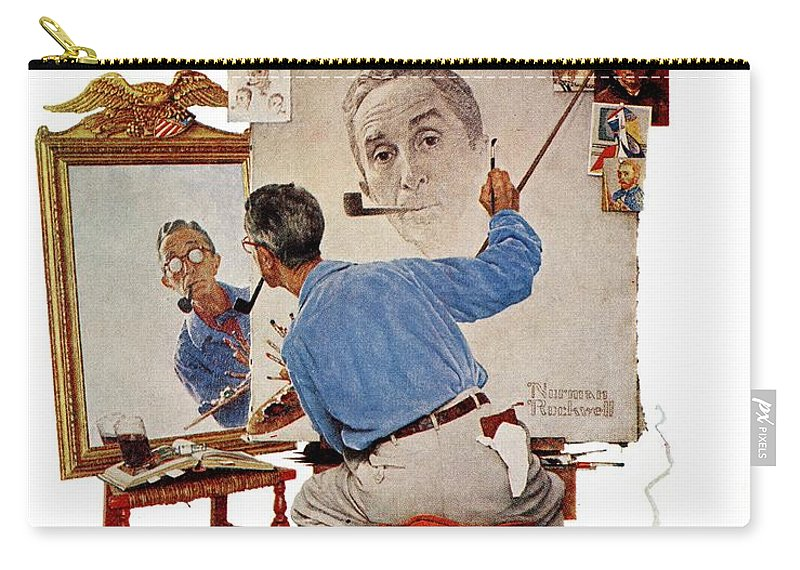 Artists Carry-all Pouch featuring the drawing Triple Self-portrait by Norman Rockwell