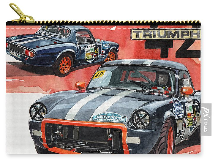 Triumph Carry-all Pouch featuring the painting Triumph Spitfire Slalom by Yoshiharu Miyakawa