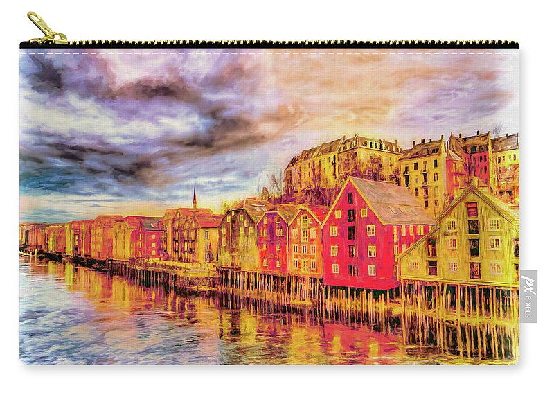Waterfront Carry-all Pouch featuring the painting Trondheim - Waterfront Evening by Wib Dawson