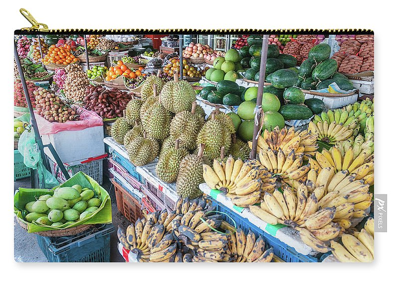 Mango Fruit Carry-all Pouch featuring the photograph Tropical Fruit At A Street Market In by Tbradford