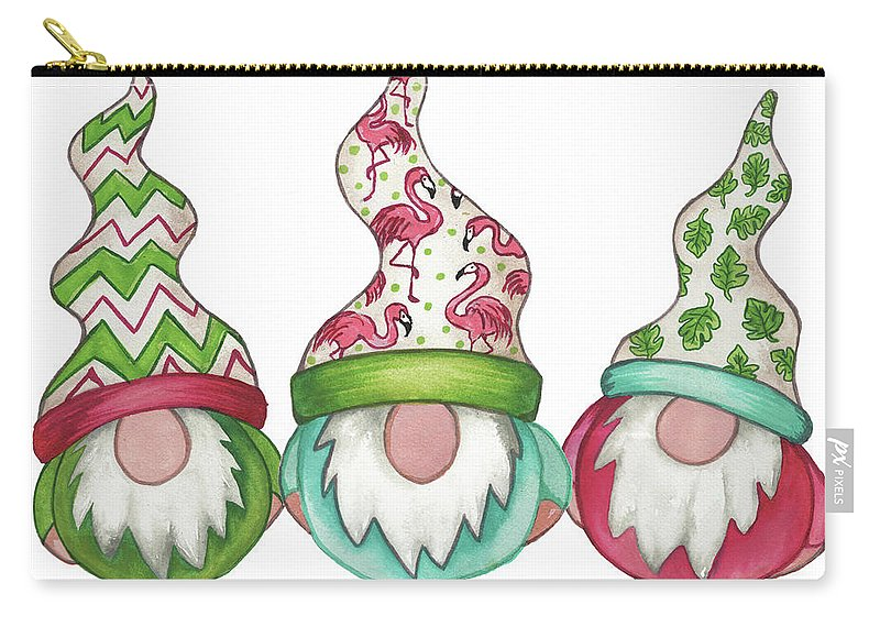 Gnomes Carry-all Pouch featuring the mixed media Tropical Gnomes by Elizabeth Medley