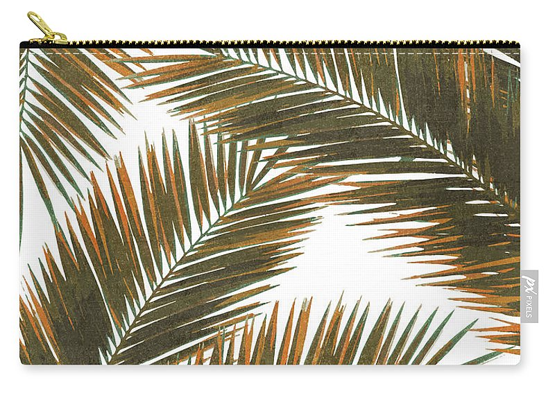 Tropical Palm Leaf Carry-all Pouch featuring the mixed media Tropical Palm Leaf Pattern 6 - Tropical Wall Art - Summer Vibes - Modern, Minimal - Brown, Copper by Studio Grafiikka