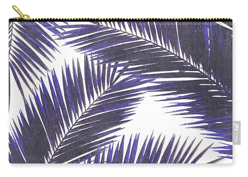 Tropical Palm Leaf Carry-all Pouch featuring the mixed media Tropical Palm Leaf Pattern 7 - Tropical Wall Art - Summer Vibes - Modern, Minimal - Purple, Violet by Studio Grafiikka