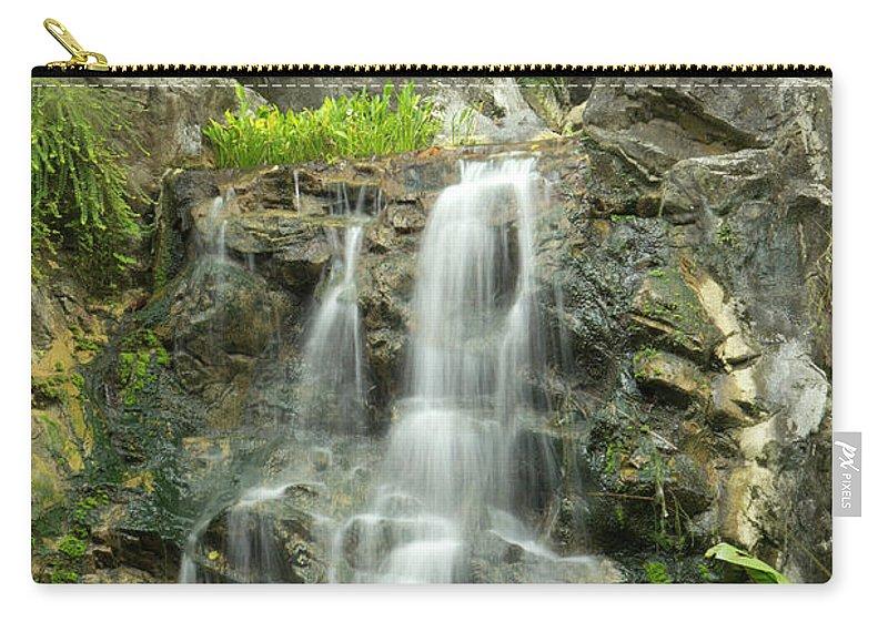Tropical Rainforest Carry-all Pouch featuring the photograph Tropical Rainforest And Waterfall by Travelpix Ltd