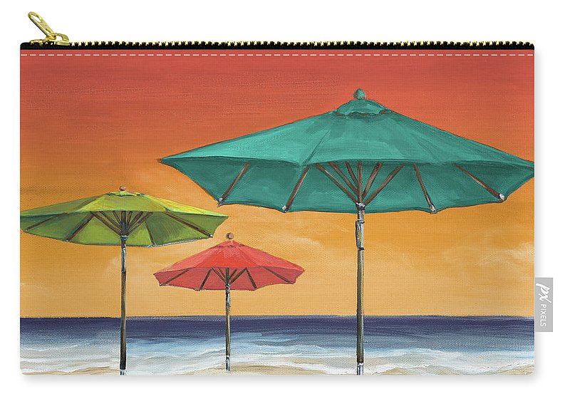 Coastal Carry-all Pouch featuring the painting Tropical Umbrellas II by Tiffany Hakimipour