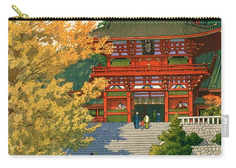 Kawase Hasui Carry-all Pouch featuring the painting Tsuruokahachimangu - Top Quality Image Edition by Kawase Hasui