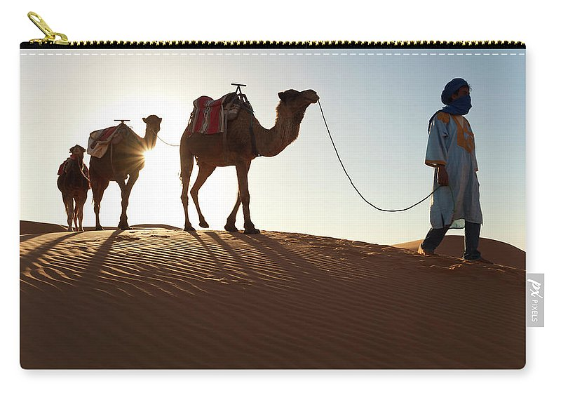 People Carry-all Pouch featuring the photograph Tuareg Man & Camels, Erg Chebbi, Sahara by Peter Adams