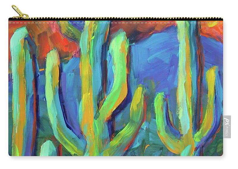 Cactus Carry-all Pouch featuring the painting Tucson Saguaros by Theresa Paden