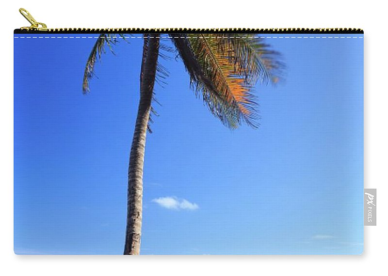 Scenics Carry-all Pouch featuring the photograph Tulum Mexico Single Tree On Beach by Maria Swärd