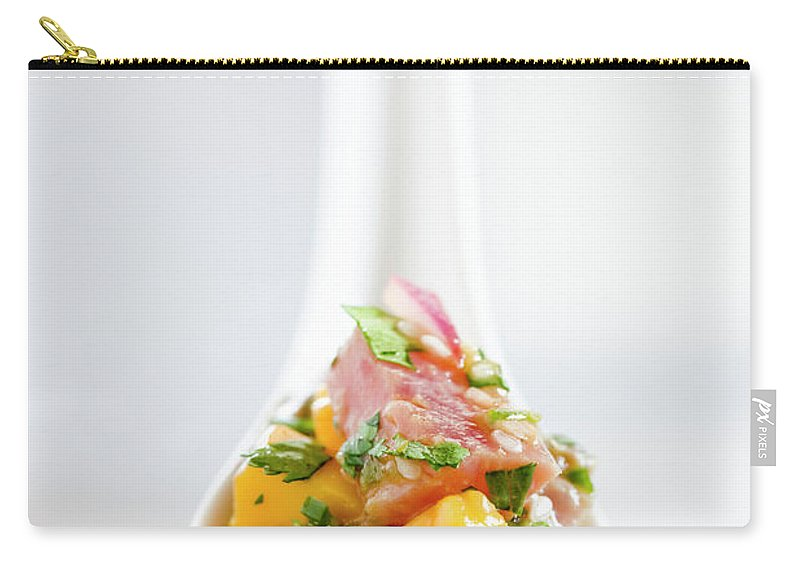 Mango Fruit Carry-all Pouch featuring the photograph Tuna Ceviche In Asian Soup Spoon by Inti St. Clair