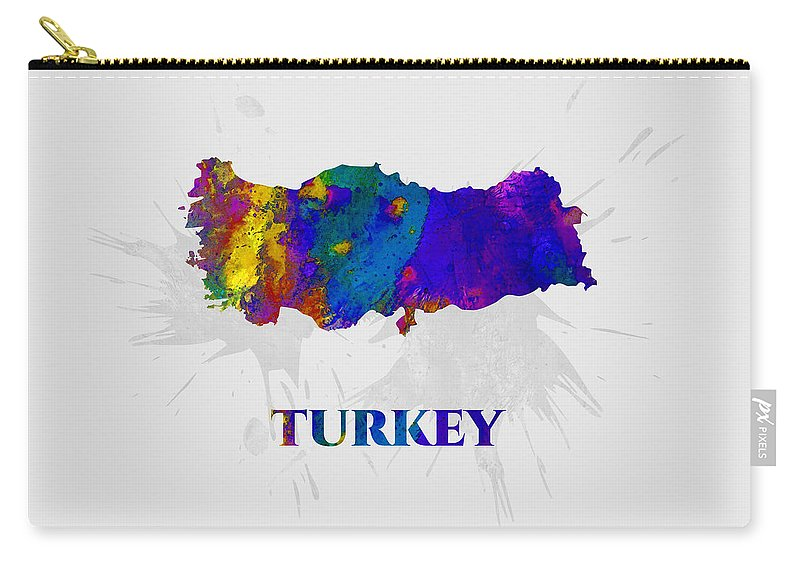 Turkey Carry-all Pouch featuring the mixed media Turkey, Map, Artist Singh by Artist Singh MAPS