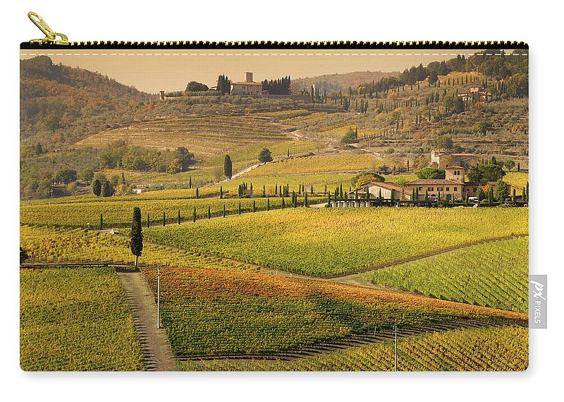 Scenics Carry-all Pouch featuring the photograph Tuscany Farmhouse And Vineyard In Fall by Lisa-blue