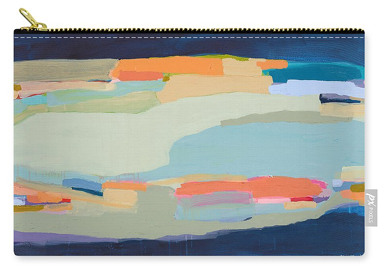 Abstract Carry-all Pouch featuring the painting Two Beige Dogs by Claire Desjardins