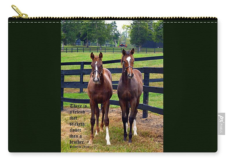 Horse Photography Carry-all Pouch featuring the photograph Two Friends With Proverbs 18 Vs 24 by Michael McBrayer
